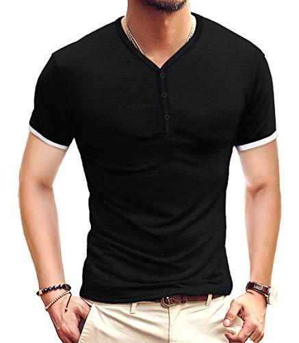 KUYIGO Mens Short Sleeve Henleys T-Shirts Buttons Placket Plain V Neck Cotton Shirts Large, Black