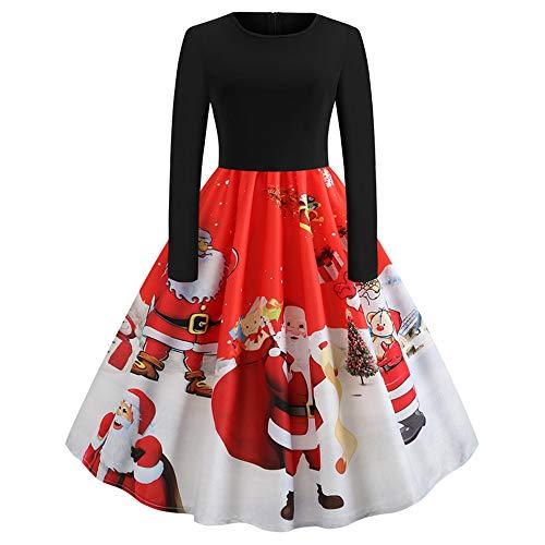 Weihnachten Damen Kleider Retro Lang Ärmel Hohe Taille Festlich Cocktailkleid Abendkleid...