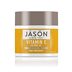One 4 ounce container of JASON Age Renewal Vitamin E 25,000 IU Moisturizing Crème Provides deep, long-lasting moisture to help minimize the visible signs of skin aging Infused with vitamin E and avocado oil Free of parabens, sulfates, phthalates and ...