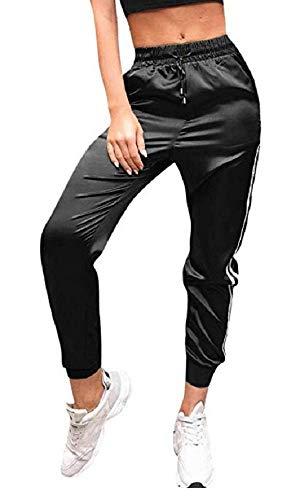 Pantaloni Sportivi Donna - Eleganti - Casual - Moda - Fitness - Jogging - Sport - Tuta - Coulisse - Tasche - Raso - Lucidi - Colore Nero - Taglia M - Idea Regalo Natale e Compleanno