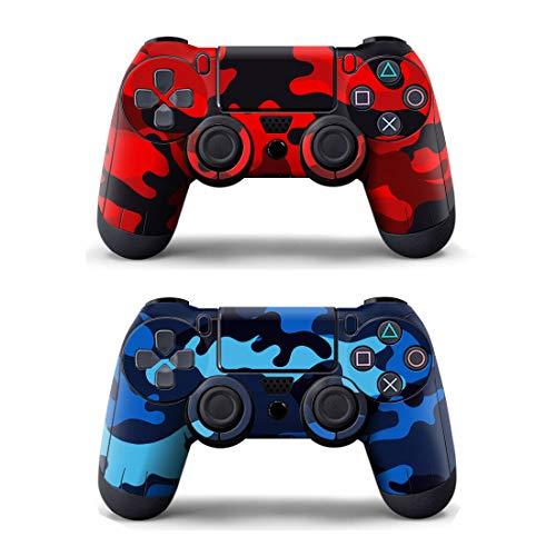 SKINOWN 2 x Skin Sticker Schutzhülle für PS4 Playstation Controller Camouflage Rot Blau