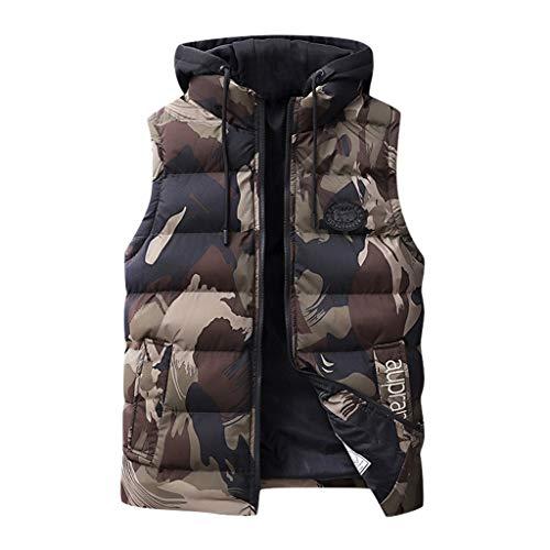 Mens Vest Jacket NRUTUP Casual Down Vest Puffer Coat Sleeveless Outerwear Camo Vest Jacket Military Jacket Work Casual (Khaki, XXL)