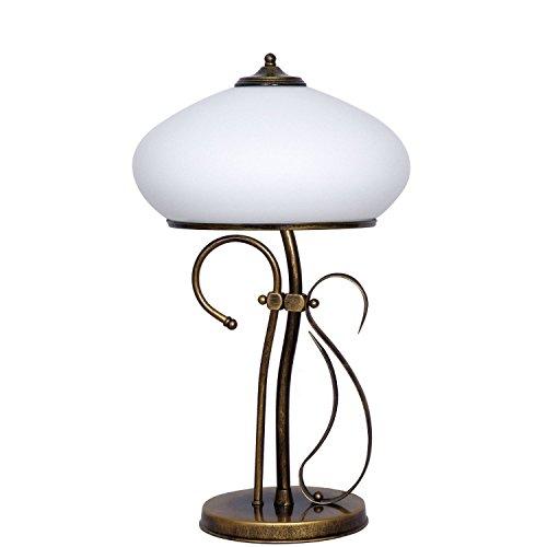 Tischlampe Glas Schirm Messing Optik Tischleuchte Antik Jugendstil Nachttischlampe Beistelltisch