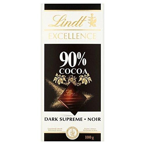 Lindt Excellence 90% De Chocolat Noir Suprême Bar 100G - Paquet de 6
