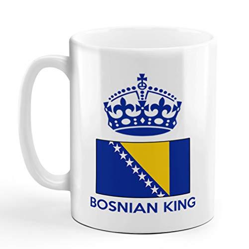 Ceramic Coffee Mug 11 Ounces Bosnian King Crown Countries White Tea Cup Design Only