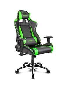 Drift DR150BG - Silla Gaming Profesional, polipiel, reposabrazos ajustable, piston clase 4, asiento basculable, altura regulable, respaldo reclinable, cojines lumbar y cervical, color negro/verde
