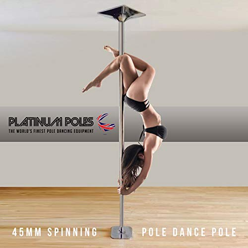 1 x Pole Dancing Pole 45 mm Spinning & Statische – Tragbar Fitness Übungs Stripper Professionelles Pole Dancing Set