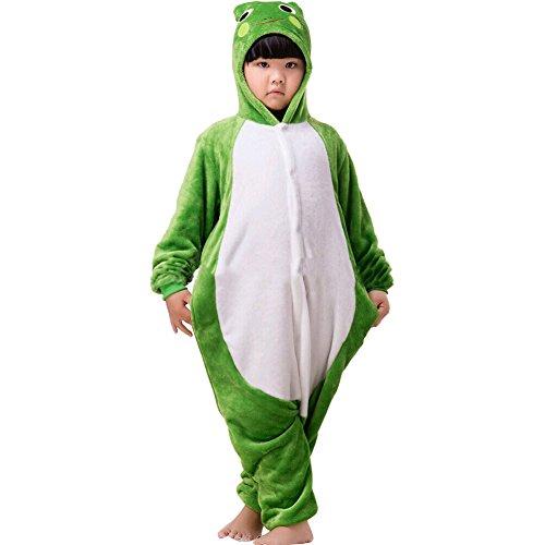LifenewBaby pour Enfants Barboteuse Enfants Dessin animé Animal Pyjama Animie Cosplay Costume à Capuche Jumpsuits-Frog - Vert - XS
