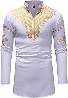 Men T-shirt, Mens Casual Slim Fit African Print Dashiki Shirt Floral Tribal Festival Blouse Tops