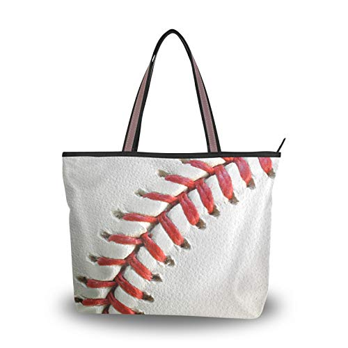 NaiiaN Bolso de mano de béisbol con pelota deportiva, bolsos de hombro, monedero con correa liviana, bolsos de compras para madres, mujeres, niñas, estudiantes