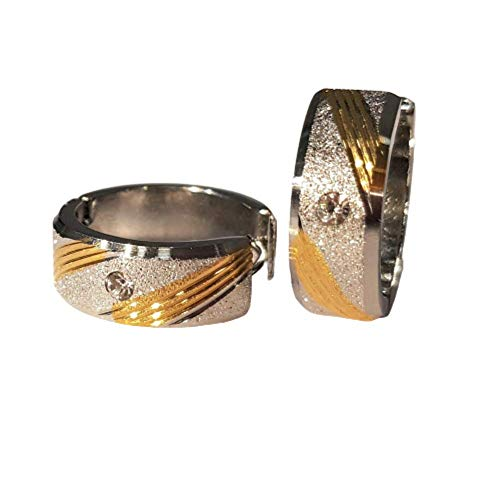 Bungsa Damen Creolen zweifarbig sandgestrahlt mit Kristall aus 316L Edelstahl