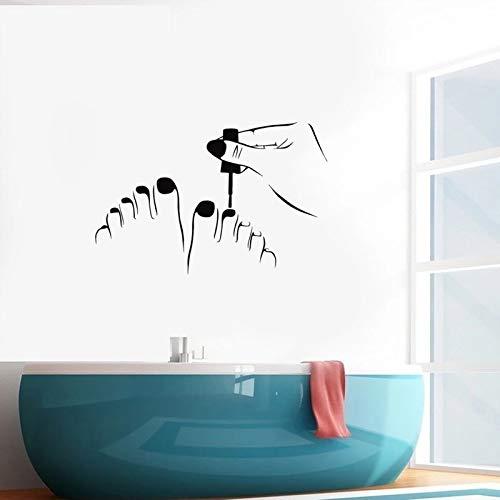 WERWN Pared de Vinilo pedicura salón de Belleza Pegatinas de uñas diseño de Interiores peluquería decoración Mural