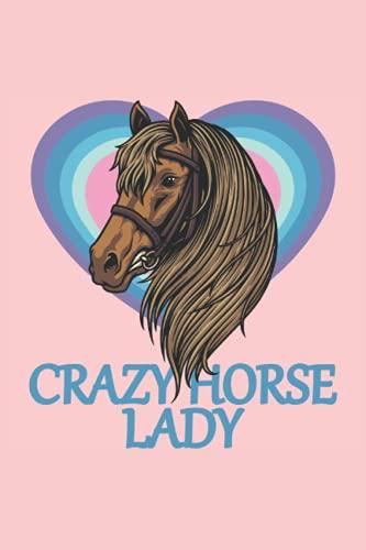 Dama de caballo loco: Cubierta motivacional e inspiradora, diario revestido de cuaderno.