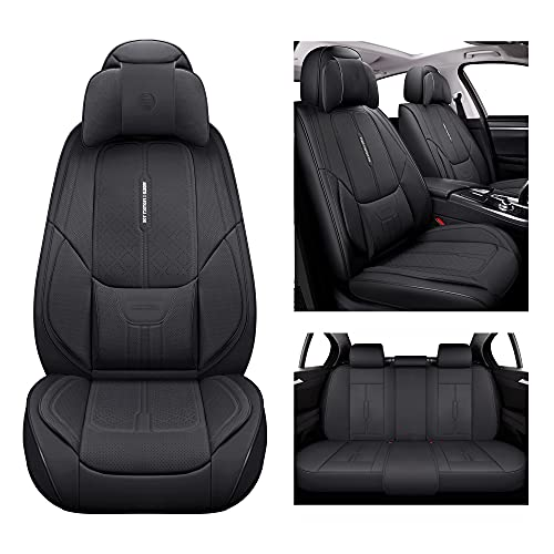 NS YOLO Leather Car Seat Covers, Faux Leatherette Automotive Vehicle Cushion Cover for Cars SUV Pick-up Truck Universal Fit Set for Auto Interior Accessories