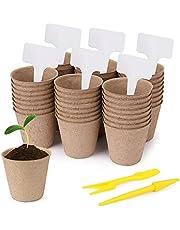 Idefair 50 macetas de turba para Plantas de semillero,Rejillas de Kit de Inicio de Plantas orgánicas,bandejas de Semillas biodegradables con Etiquetas de Plantas y Herramienta de excavación