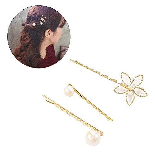 Frcolor 3pcs Flower Pearl Bobby Pins Femmes Perruques à cheveux Clip Barrettes Hairstlye Accessoire épingle à cheveux pour la décoration des cheveux
