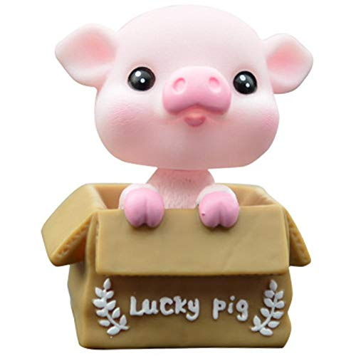 Wackelfigur,Glückliches Schwein Form Shaking Puppe,umweltfreundliches Silikon&PVC,Anti-Deformation,Auto Dekoration Auto Puppe Auto Interieur Kinder Spielzeug Geschenk