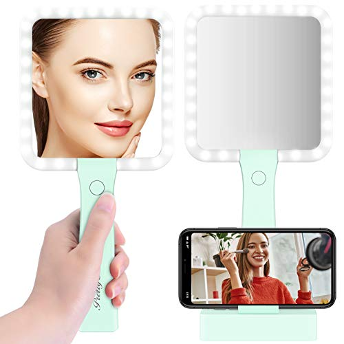 Espejo Maquillaje con Luz LED Doble Cara 5X Aumento Carga con USB, PRETTY SEE Espejo Cosmético con 3 Modos de Color Menta Verde