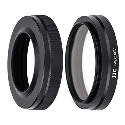 JJC - Kit de Parasol Metálico de 49 mm con Filtro UV, Anillo Adaptador para Fujifilm X100V, X100F, X100T, X100S, X100 (Negro)