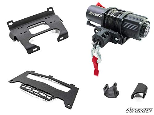 SuperATV 3500 LB Black Ops Winch with Heavy Duty Winch Mounting Plate for Polaris RZR S 1000 / RZR S4 1000 (2016-2020) | Complete Winch Kit ready for install!