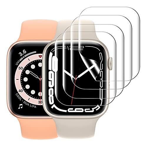 KIMILAR [4 piezas] Protector de Pantalla Compatible con Apple Watch 7 41MM / SE 6 5 4 40MM /3 2 1 38MM Protector Película, Non Vidrio, Soft TPU Film Compatible con iWatch Series 38/40/41mm