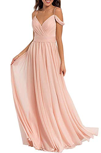 Staypretty Off Shoulder Bridesmaid Dresses Long Pleated Chiffon A-line Formal Evening Party Gown Blush Pink 14