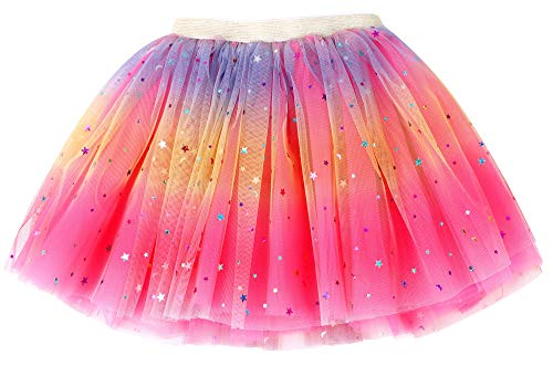 Simplicity Girls Tutu Rose Rainbow Princess Ballet Toddler Tutu for 2-6 Years