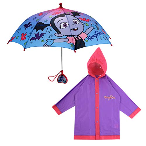 Disney Umbrella and Slicker Set, Toddler or Little Girl Rainwear Ages 2-7, Vampirina Purple, Large, Age 6-7