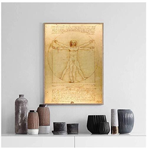 Pintura clásica famosa Hombre de Vitruvio, estudio de proporciones de Leonardo da Vinci, impresiones de carteles Arte de la pared Pintura en lienzo Decoración -60x80cm Sin marco