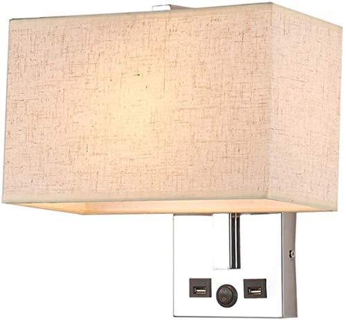 Lámparas de pared industriales, Luz de pared Moderno Chrome CHROMING Tela cuadrada de tela con doble puerto de carga Botones Control Lámpara de pared Interior Decoración de hotel Casa Sala de estar Do