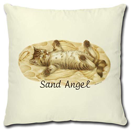 TRIOSK kussen kat met kattenmotief zand engel, grappig cadeau voor kattenliefhebbers, sierkussen incl. vulling 40x40 cm natuur beige