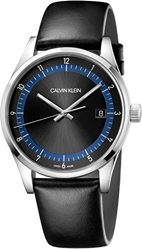 Calvin Klein Herenhorloge met echt lederen armband KAM211C1