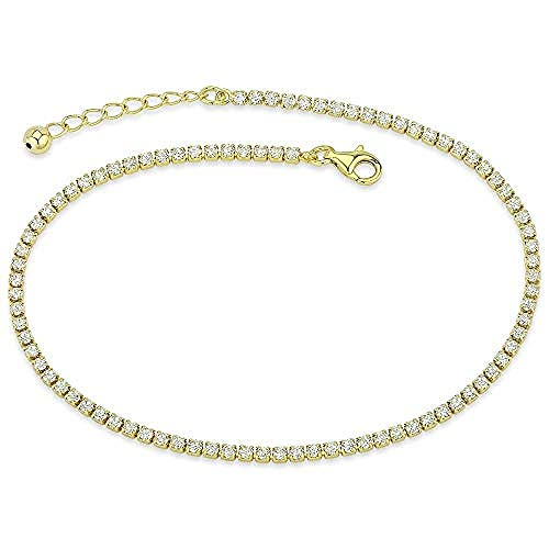 Bling Bling NY Women's Platinum Plated 14K Gold Plated 925 Sterling Silver Cubic Zirconia Anklet Bracelet Adjustable Tennis Anklet 9-10 inches (14K Gold Plated)