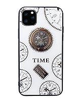 IPLUS iPhone 11 ケース おしゃれ 贅沢 キラキラ 大人気 時針柄 強化ガラスの背面カバー 可愛い 薄型 クリア アイフォン 11 ケース リング スタンド付き (時針 ホワイト, iPhone 11)