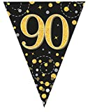 90th Birthday Black and Gold Birthday Party Flag Banner Bunting Age 90