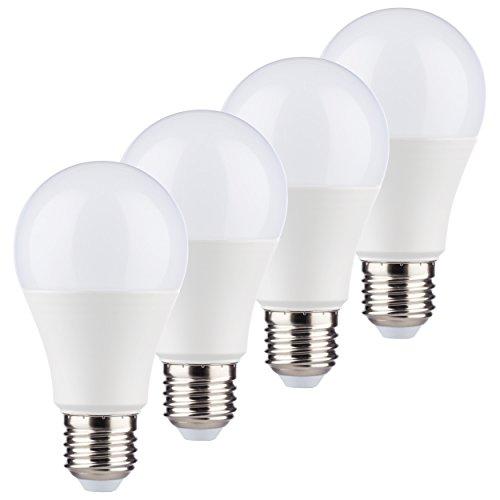 MÜLLER-LICHT 4er-Set LED Birnenform ersetzt 60 W, Plastik, E27, 9 W, Weiß, 4 Einheiten
