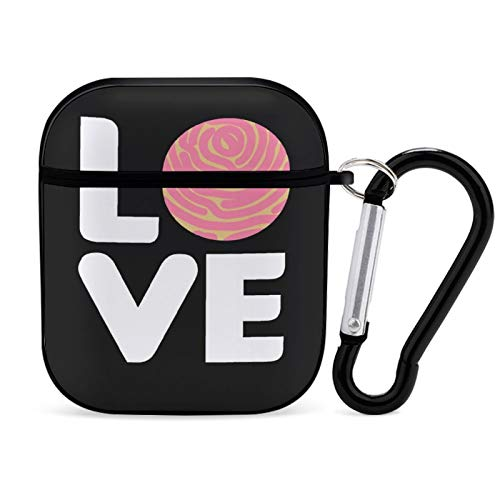 Love Concha Mexican Sweet Bread Baking Funny Gift AirPods Case PC Shockproof Protective Cover Skin with Keychain Compatible with AirPods 2 & 1