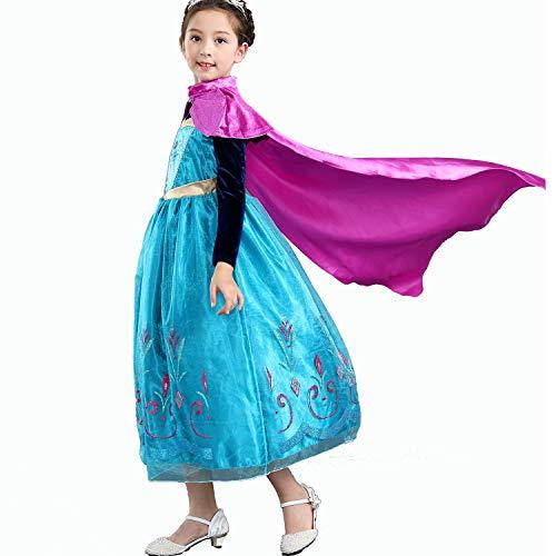 meisjes prinses Anna kostuum jurk met rode mantel voor prinses partij cosplay kerst outfit, 120cm, Rood