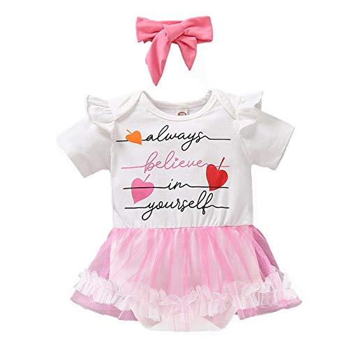 puseky Conjunto de ropa para bebé recién nacido con tutú de malla para niñas