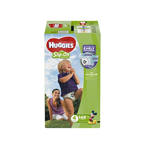 Huggies Little Movers Slip On Diaper Pants, Size 4, 148 Count, One Month Supply