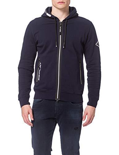 Replay Herren M3441 Sweatshirt, 890 Dark Blue, L