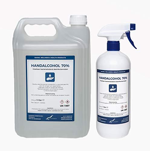 Hand Alcohol Desinfectie Spray 70% Gedenatureerd met IPA, MEK en Bitrex – 1 liter met spraykop + 5 liter