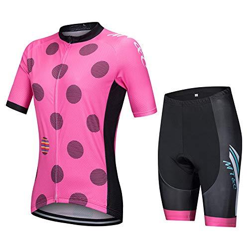 Conjunto Ciclismo Maillot,Trajes De Ciclismo Suave, Transpirable, De Secado Rápido, Rosa, Manga...