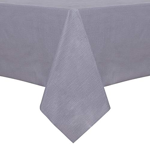 sancua 100% Waterproof Rectangle PVC Tablecloth – 54 x 78 Inch – Oil Proof Spill Proof Vinyl Table Cloth, Wipe Clean Table Cover for Dining Table, Buffet Parties and Camping, Grey