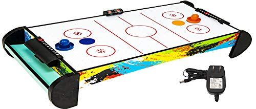 Air Hockey Table Compact-Size Air Hockey Tables with Air Hockey Accessories Plug-in Powered Air Hockey Set  2 Pucks+2 Paddles+Led Score Board+Electric Motor Fan+Blowers  for Game Room  Kids Adults