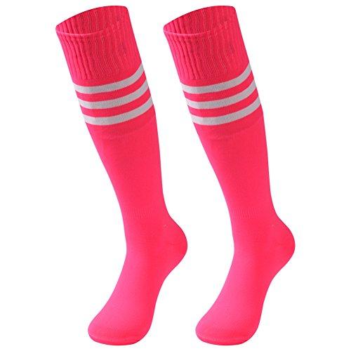 saounisi Unisex Schlauchsocken, gestreift, 2 Paar, kniehoch, Fußball, Volleyball, Baseball, Cheerleading, Team-Socken - Pink - Large