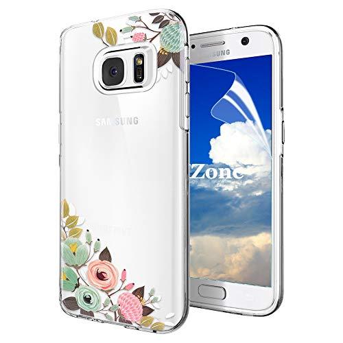 OKZone Galaxy S7 Hülle [mit HD-Schutzfolie], [Blumen Series] Transparent Weiche Silikon Malerei Muster Hülle TPU Bumper Case Blühende Blumen Design Schutzhülle für Samsung Galaxy S7 (Grün)