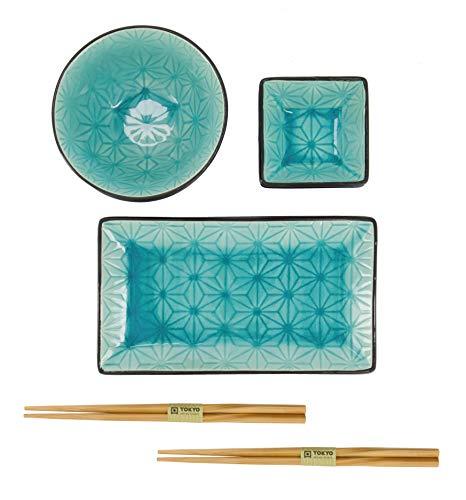 TOKYO design studio Sushi Set grüner Stern, Set mit 2 Tellern + Zubehör