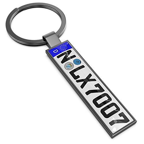 Persize Persönlicher Schlüsselanhänger Nummernschild zum beschriften, klein, Farbe:grau