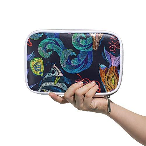 Große PU Leder Federmäppchen, bunte Meeresfische Kosmetik Reisepass Multifunktionstasche mit Reißverschluss Büro Schreibwaren für Kinder, Jugendliche, Mädchen, Frauen